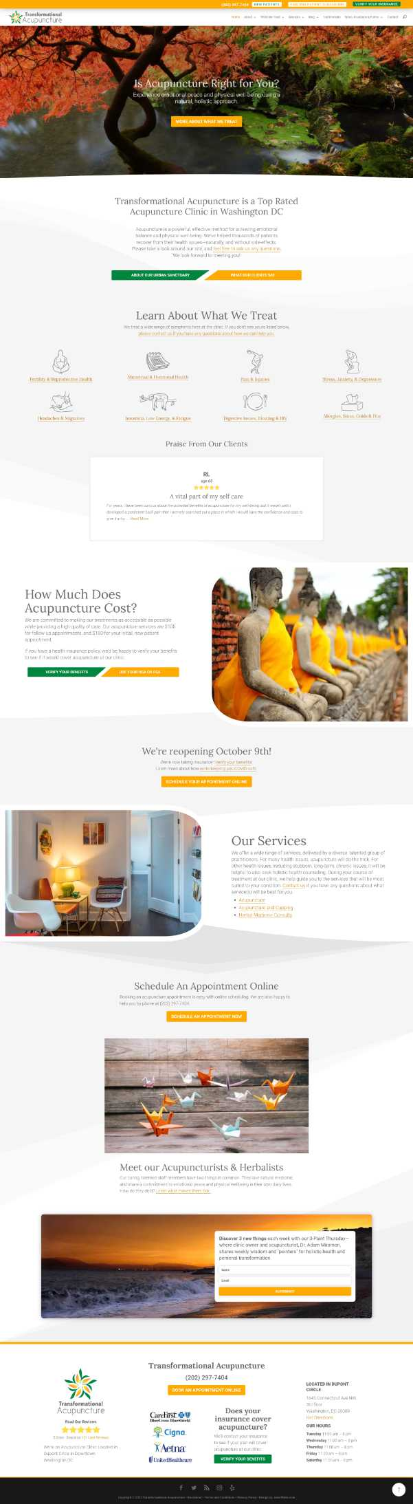 Screenshot of Transformational Acupuncture's home page