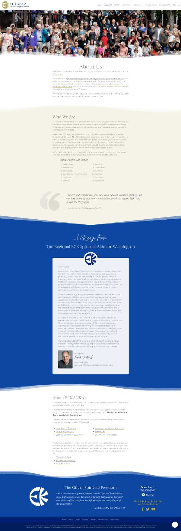 Screenshot of Eckankar in Washington's About page