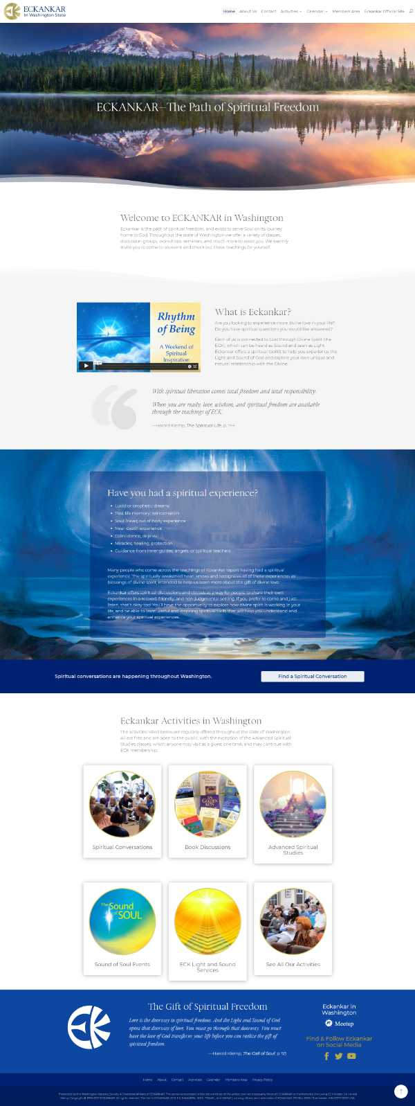 Screenshot of Eckankar in Washington's Home page