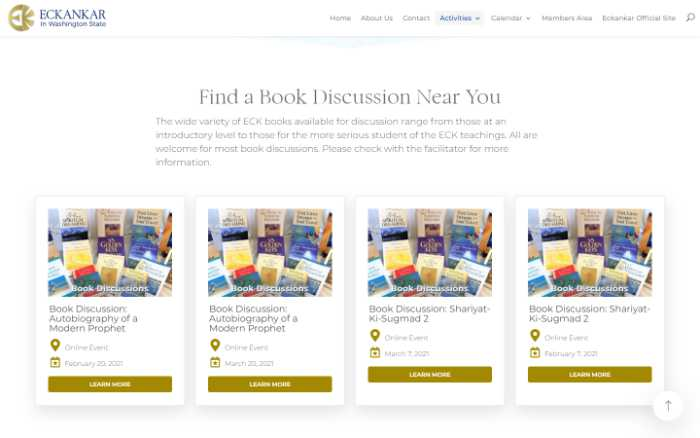 Eckankar in Washington State -  laptop screenshot - book disucssion events