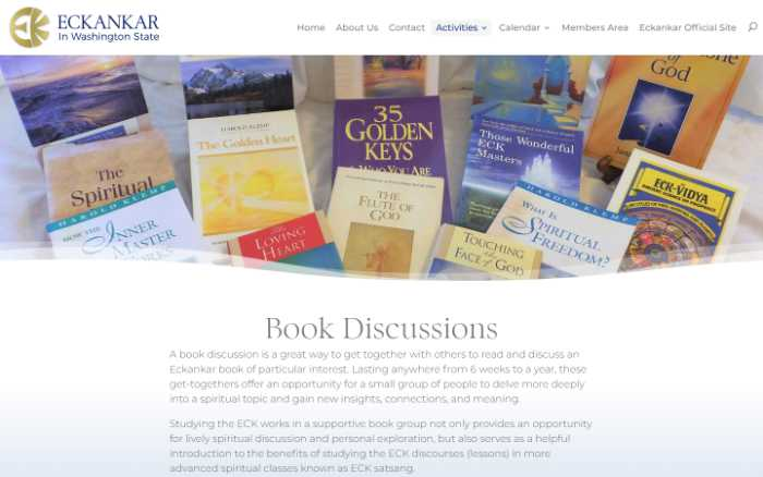Eckankar in Washington State -  laptop screenshot - book discussions