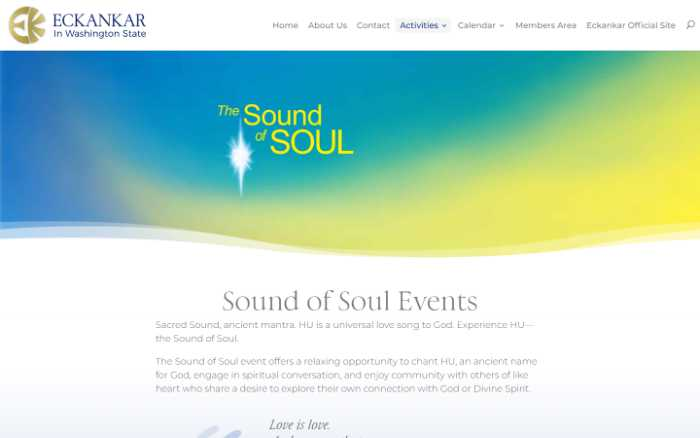 Eckankar in Washington State -  laptop screenshot - sound of soul