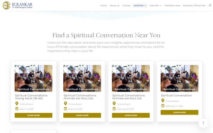Eckankar in Washington State -  laptop screenshot - spiritual conversations - events