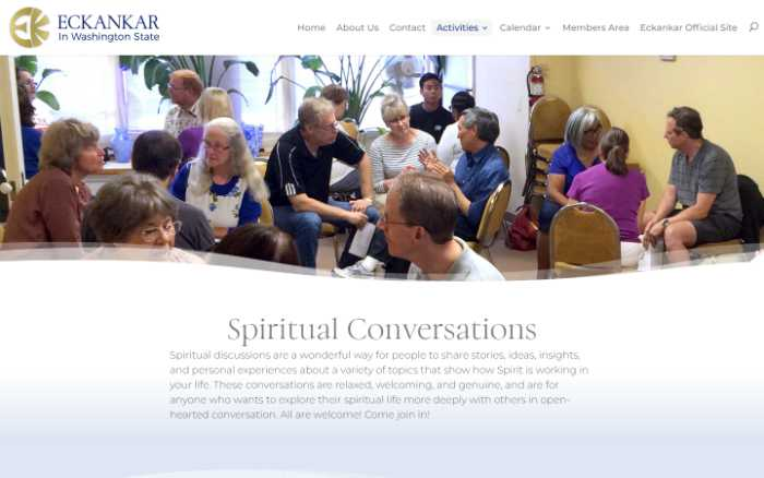 Eckankar in Washington State -  laptop screenshot - spiritual conversations