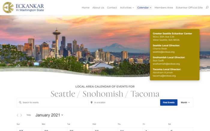 Eckankar in Washington State -  laptop screenshot - seattle calendar