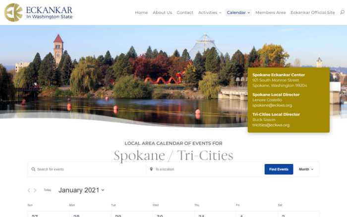 Eckankar in Washington State -  laptop screenshot - spokane calendar
