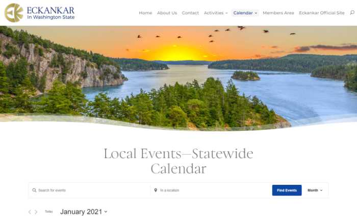 Eckankar in Washington State -  laptop screenshot - statewide calendar