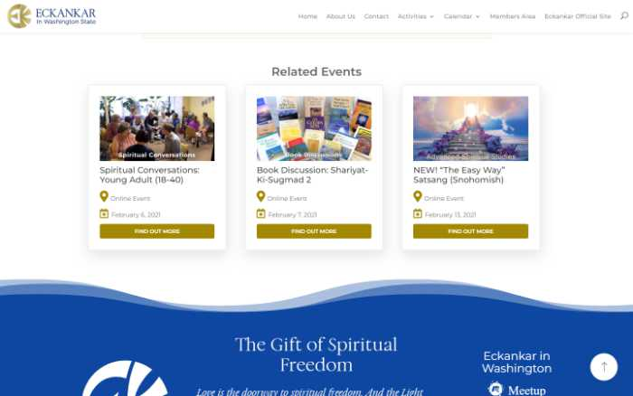 Eckankar in Washington State -  laptop screenshot - related events