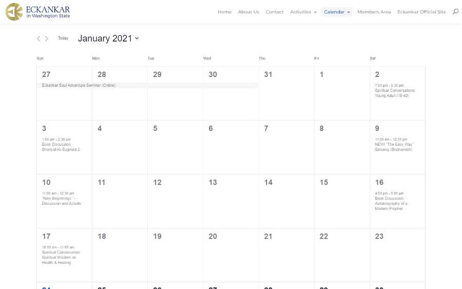 Eckankar in Washington State -  laptop screenshot - month calendar