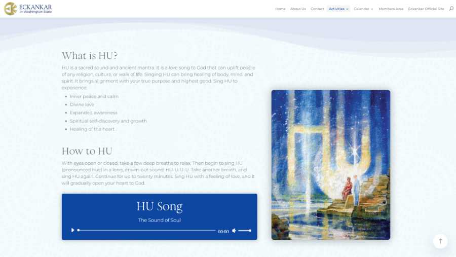 Eckankar in Washington State -  desktop screenshot - HU