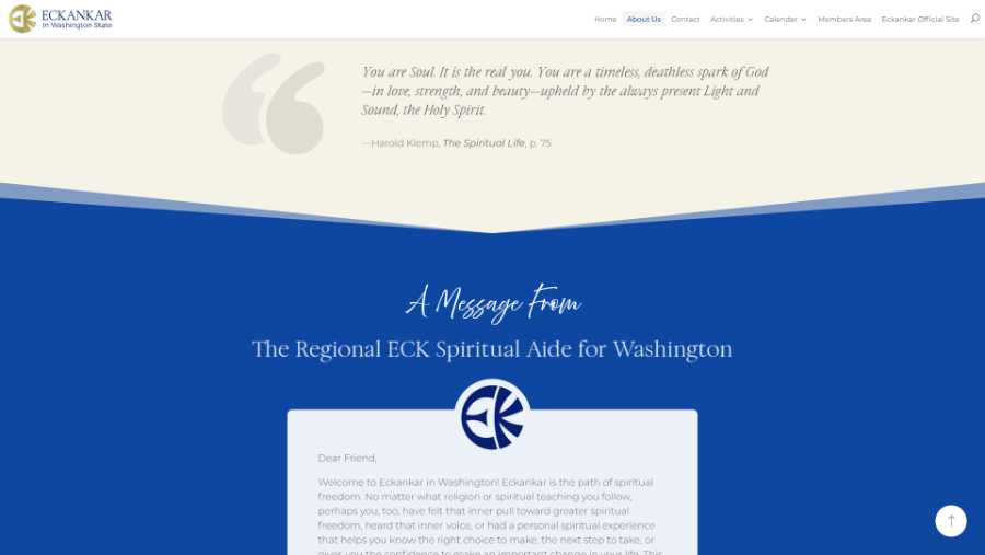 Eckankar in Washington State -  desktop screenshot - about page