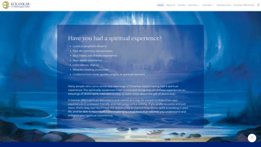 Eckankar in Washington State -  desktop screenshot - have you had a spiritual experience?