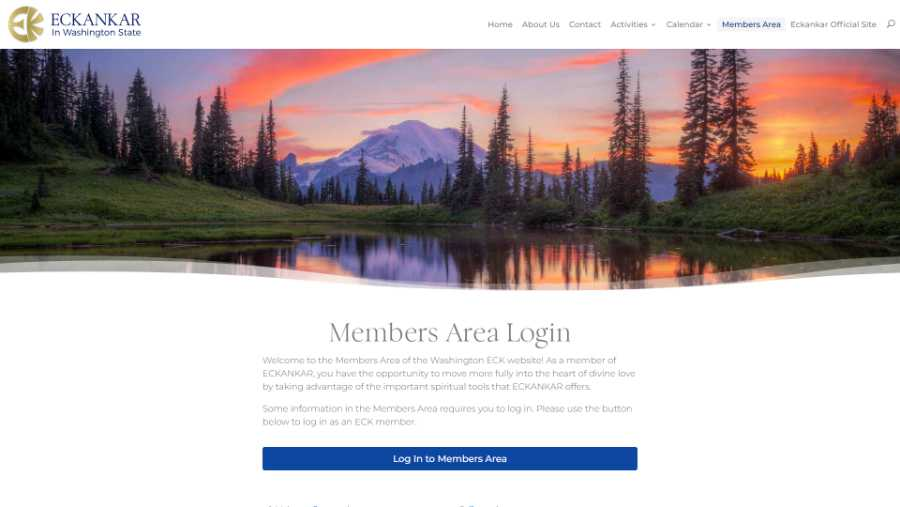 Eckankar in Washington State -  desktop screenshot - members area