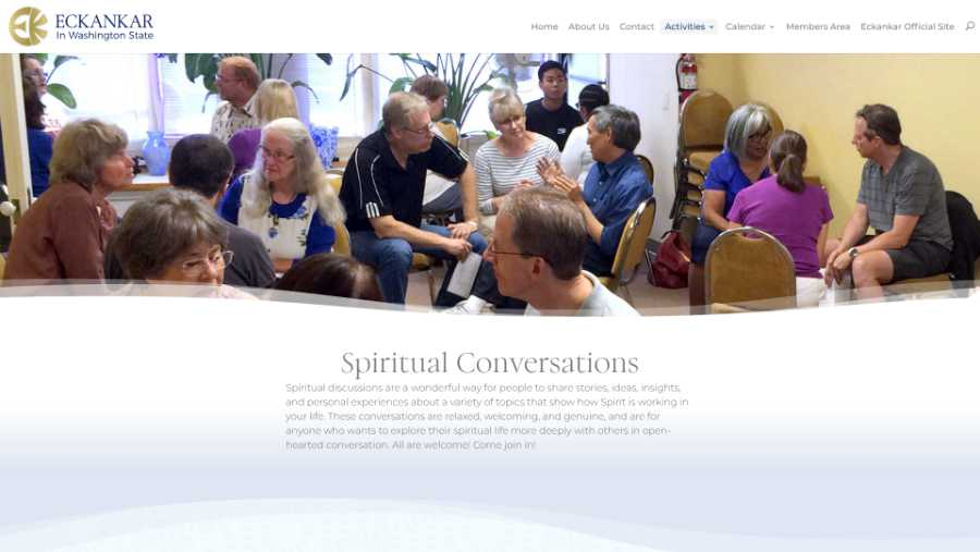 Eckankar in Washington State -  desktop screenshot - spiritual conversations
