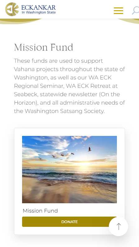 Eckankar in Washington State - mobile screenshot - donations - mission fund