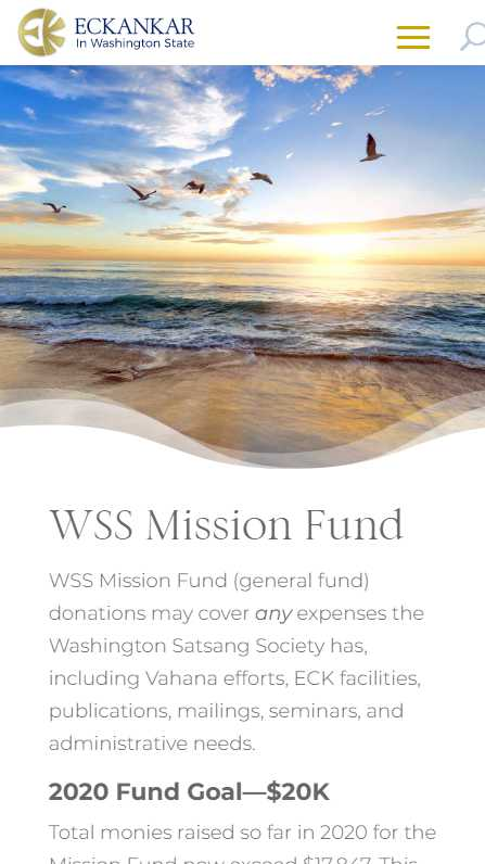 Eckankar in Washington State - mobile screenshot - mission fund