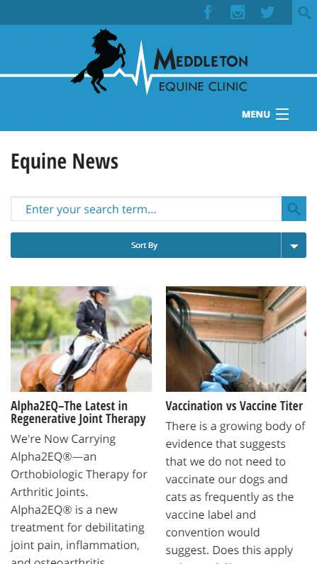 Meddleton Equine Clinic - mobile website screenshot - blog