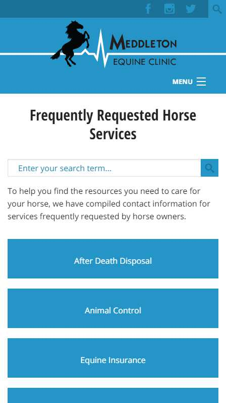 Meddleton Equine Clinic - mobile website screenshot - faq page