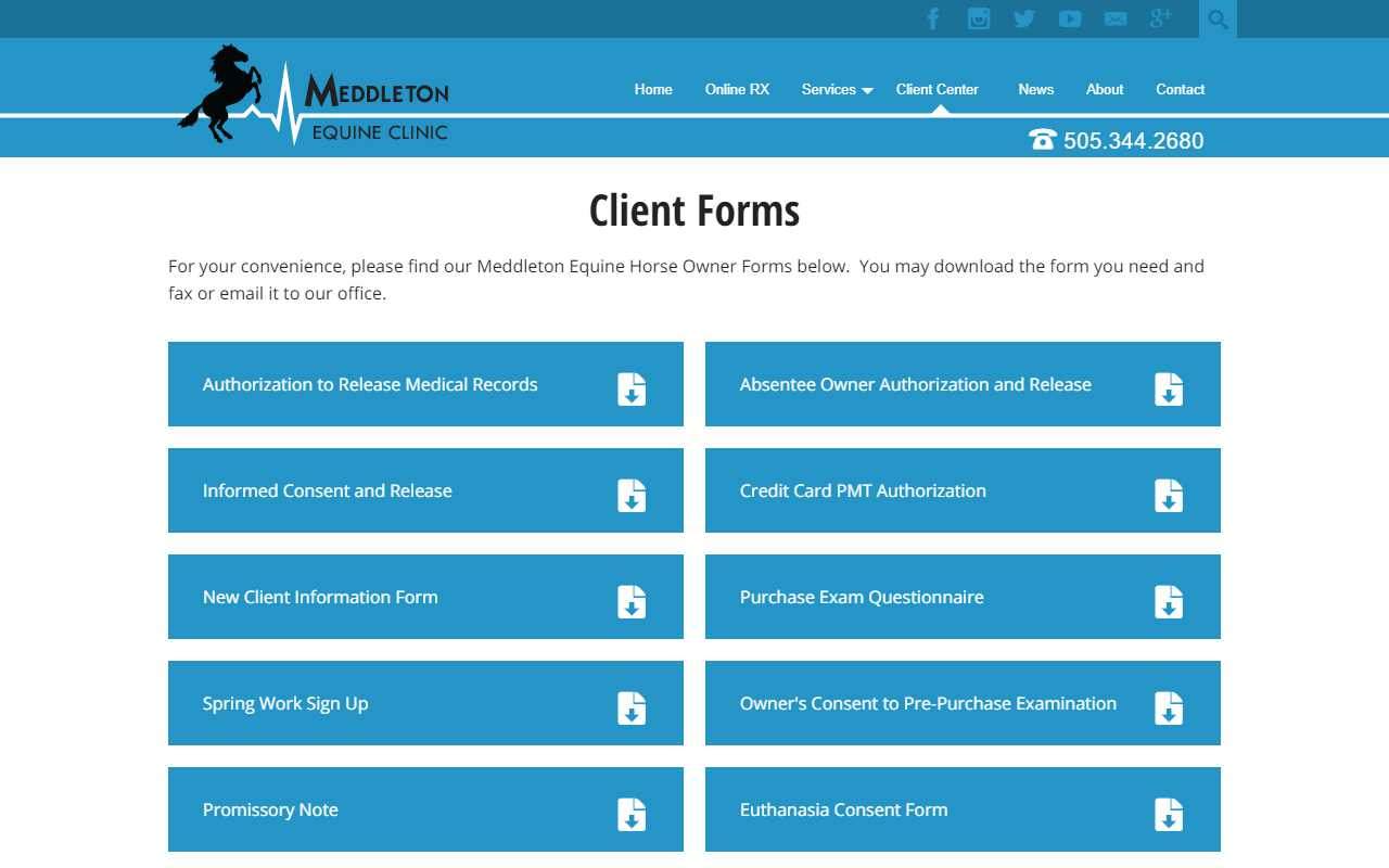 Meddleton Equine Clinic - desktop screenshot - client forms