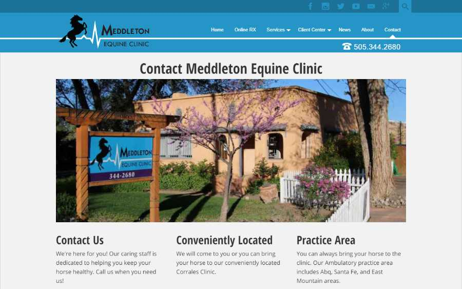 Meddleton Equine Clinic - desktop screenshot - contact page