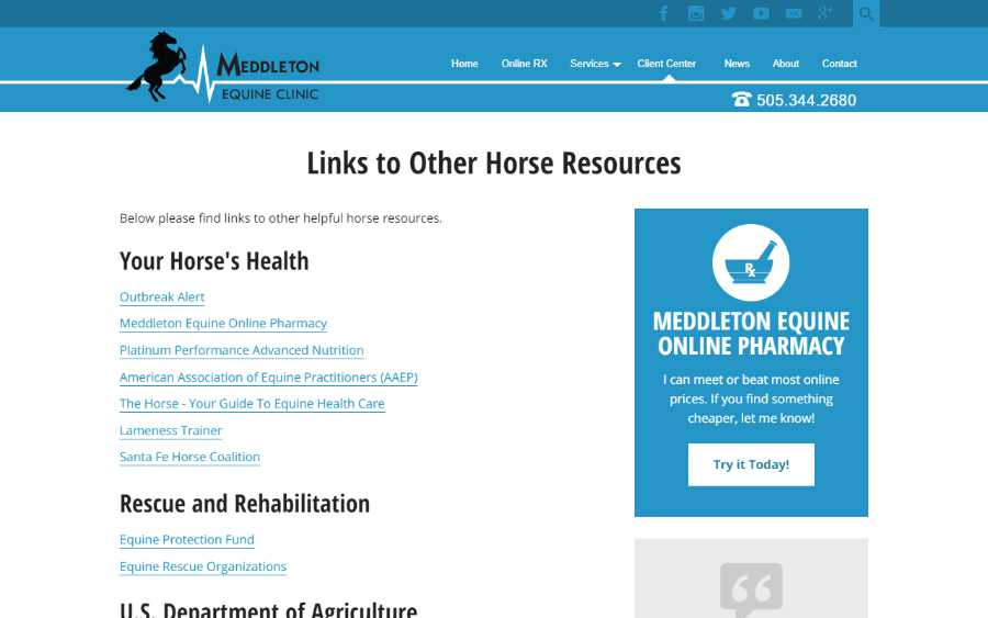 Meddleton Equine Clinic - desktop screenshot - resource links