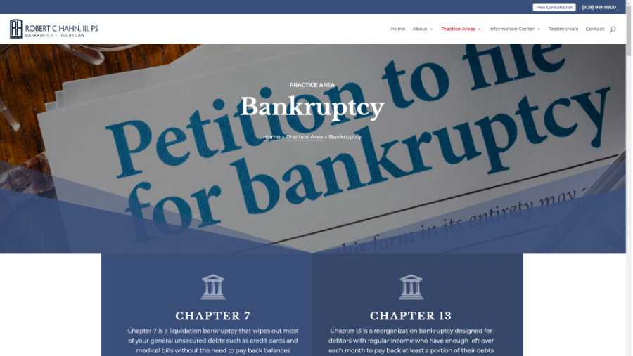 screenshot - Bankruptcy page