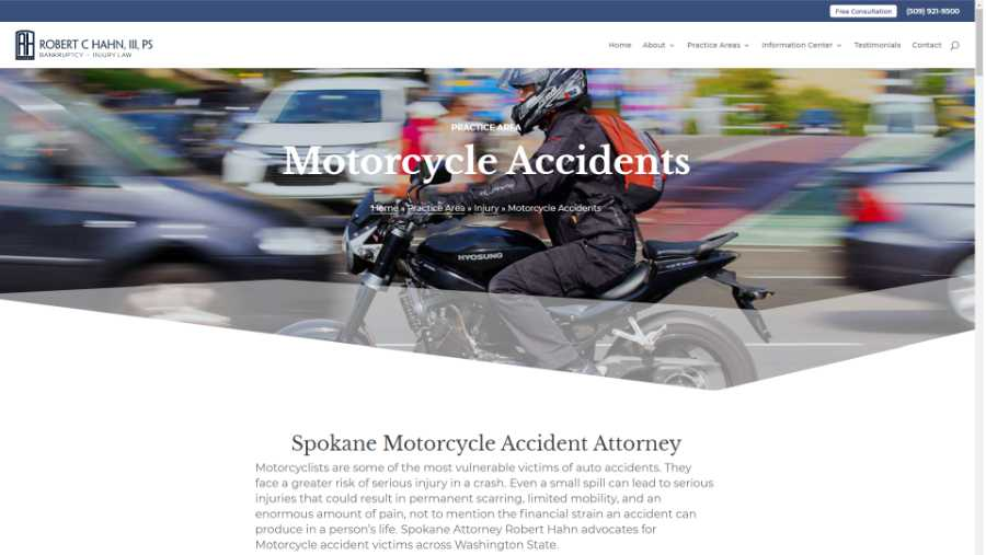 screenshot - motorcycle accidents page