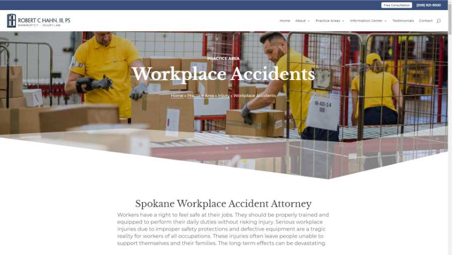 screenshot - workplace accidents page